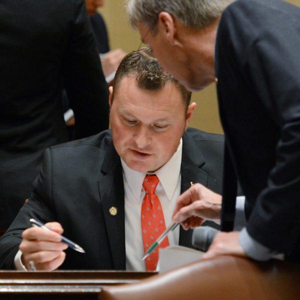 Sen. Andrew Lang, center, confers with Sen. Scott Jensen, right, on the Senate floor
