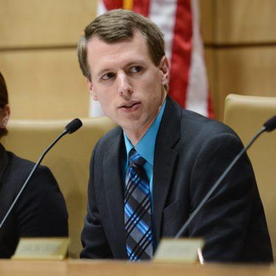 Sen. Andrew Mathews listens to testimony during a Senate committee