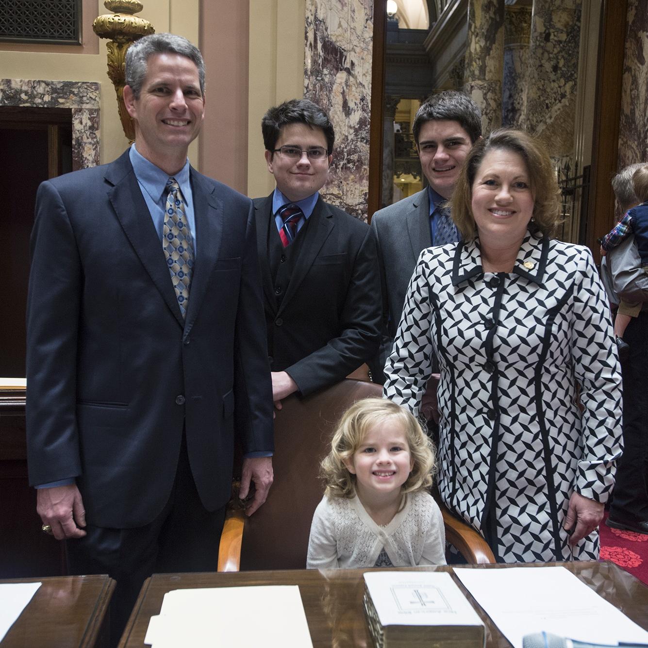 Senator Michelle Benson and family