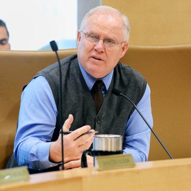 Sen. Dan Hall discusses a bill in committee
