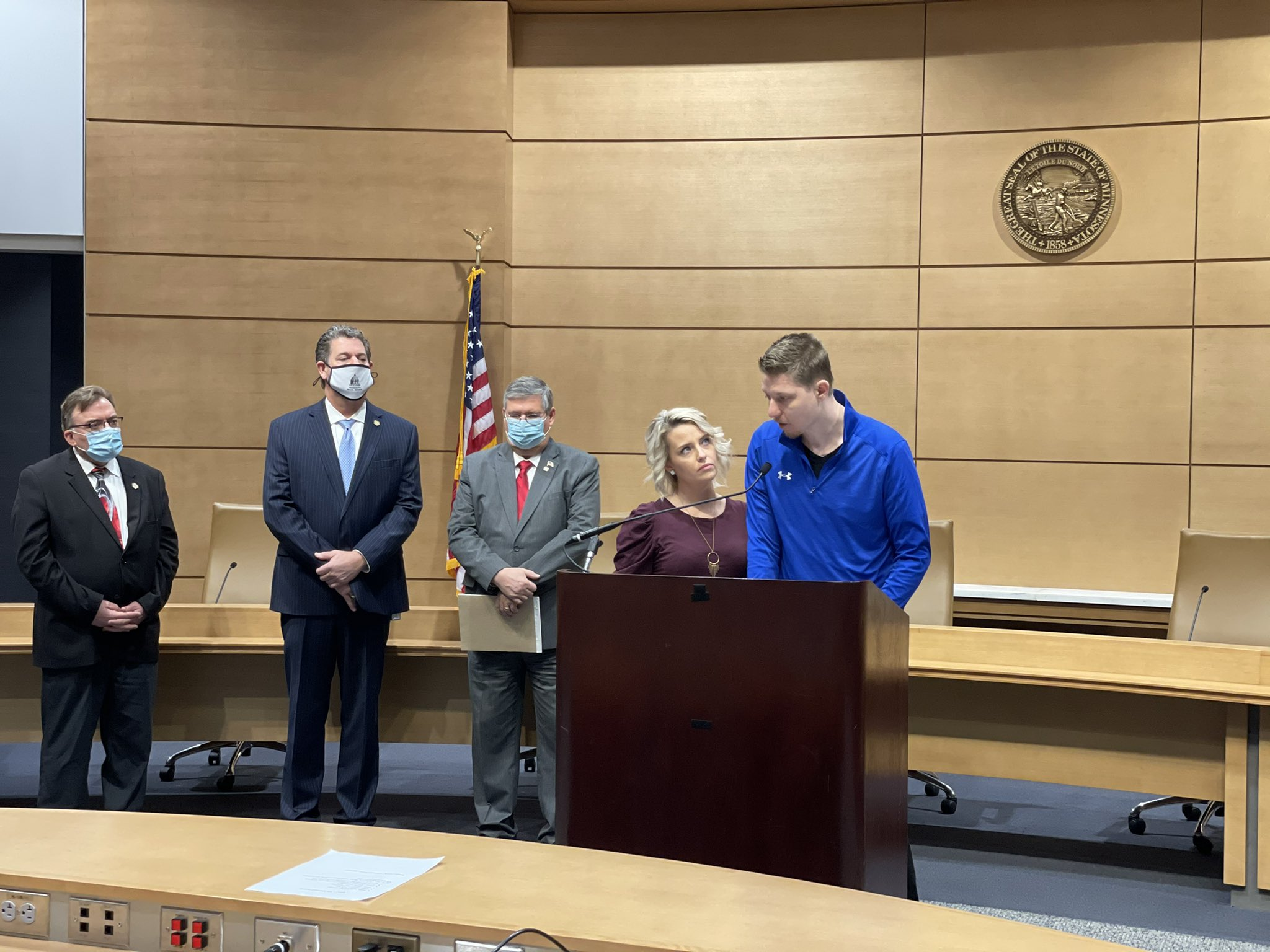 Megan and Arik Matson speak at a Press Conference